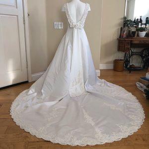 Jasmine Satin & Pearl Low Back Wedding Dress Ivory